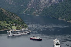 Cruise ships moored norwegian fjords