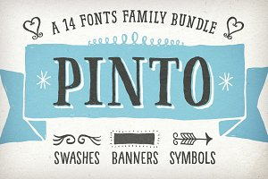Hand-drawn Pinto: A 14 Fonts-Bundle