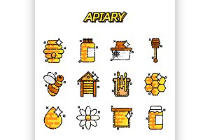 Apiary icons set.