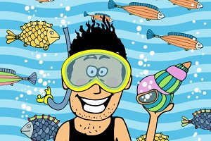 swimmer wearing snorkel and seashell