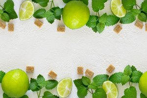 Ingredients for Mojito. Juicy lime, mint and brown sugar. Long b