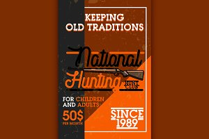 Color vintage hunting club banner