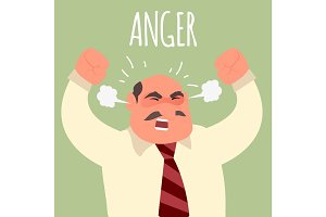 Illustration of an angry boss businessman