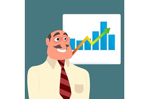 Businessman with sales growth chart