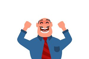Businessman celebrating success or victory