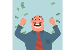 Money bills fall to the joyful businessman