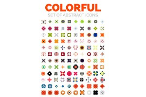 Set of vector colorful geometrical abstract icons