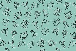 Japan Flat Icons Pattern