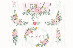 Pink Love Floral Elements