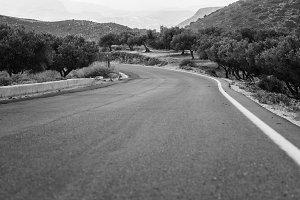 Rural road on Crete Island in b&w, Greece