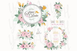 Flower Bouquet Frame Elements