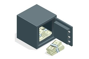 Bank safe with money dollar stacks. Safe open with money. Vector