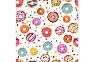 Colorful donuts with sprinkles seamless pattern. Doodle sketch style background.