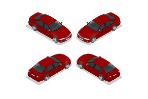 Red Sedan Car. Flat isometric high quality city transport icon set. Vector illustration