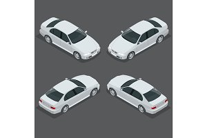 Black Sedan Car. Flat isometric high quality city transport icon set. Vector illustration.