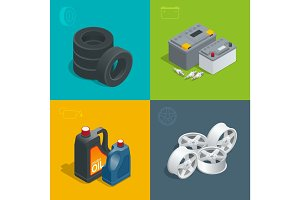 Tire service car auto, repair icons flat 3d set isolated vector