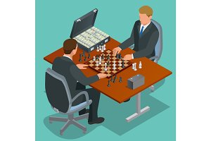 Chess players. Two man sitting and playing chess. Chess strategy