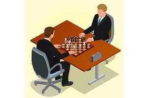 Two CEO playing chess using businessman. Business concept. Flat
