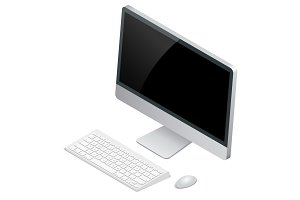 Desktop computer with wireless keyboard and mouse. Flat 3d Vecto