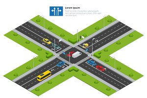 Crossroads and road markings isometric vector illustration for i
