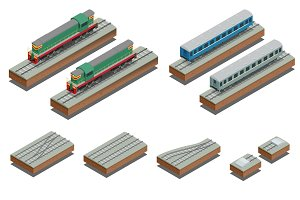 Fast Train coach and diesel electric locomotive. Vector isometri