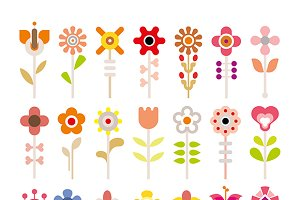 Flower vector icon set