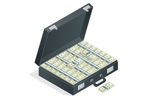 Case full of money on white background. Lot of money in a suitca