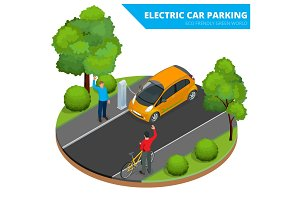 Isometric Electric car parking, electronic car. Ecological conce