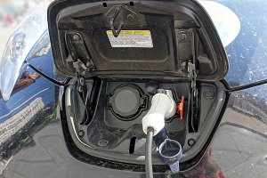 Electric car is being charged