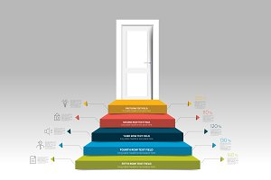 Door and stairs infographic