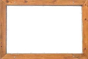 White Frame with Wooden Borders