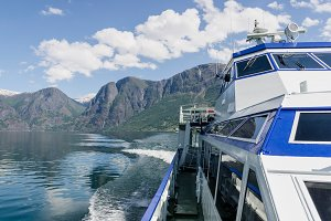 Boat sailing naeroyfjord