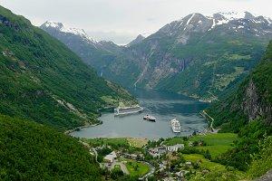 Liners moored, Geiranger, Norway
