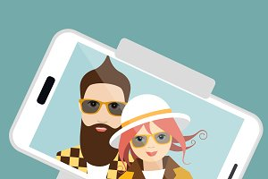 Couple making summer selfie photo.