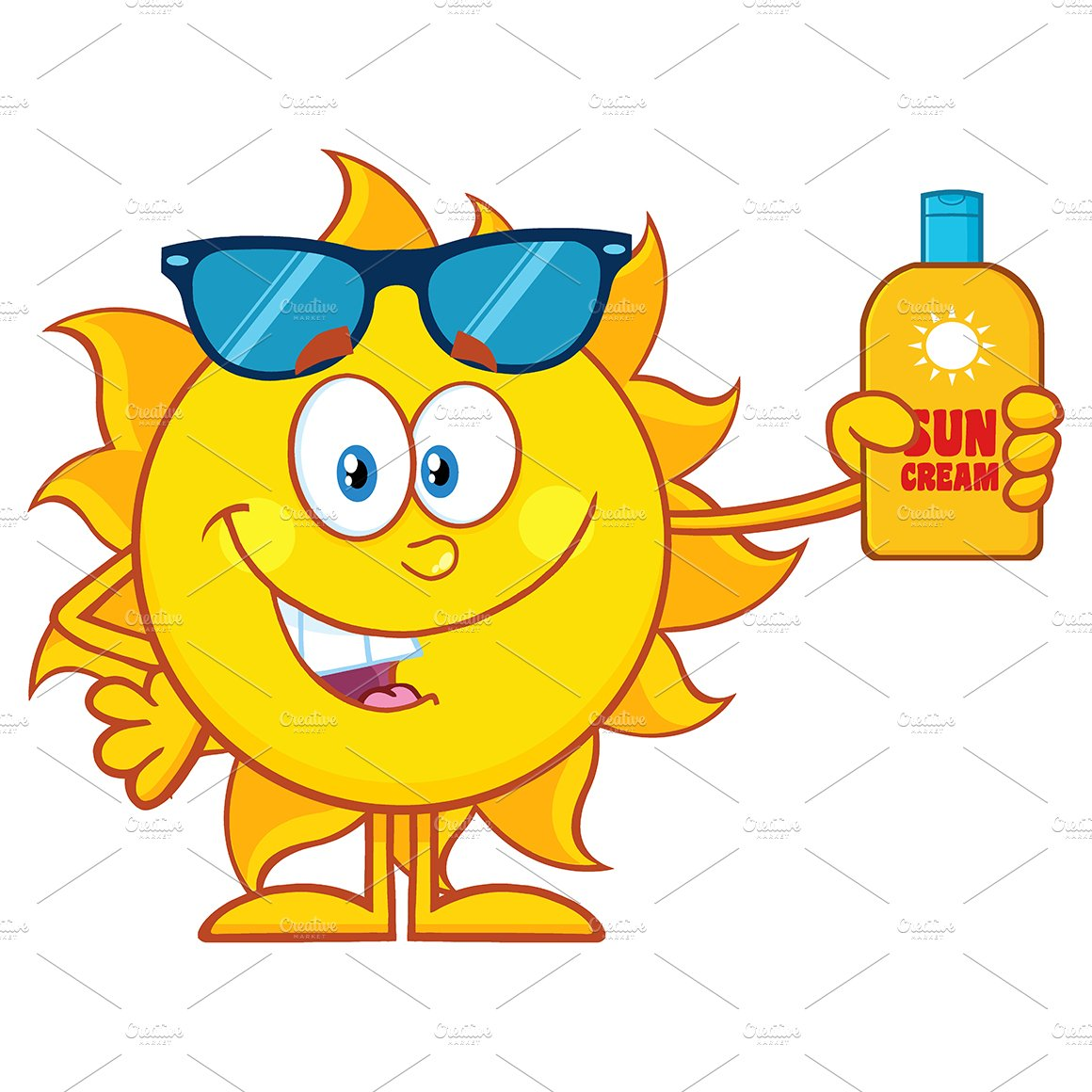Sun Holding A Bottle Sun Block Cream ~ Illustrations ...