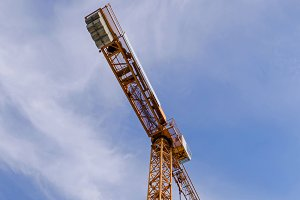 Crane and scaffolds