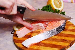 fresh slice of salmon