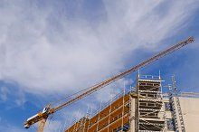 Scaffolds and crane