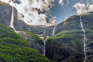 Naeroyfjord waterfalls, Norway