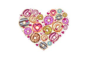 Design from donuts in the heart form. Culinary pastries background for St. Valentine s Day with lettering.