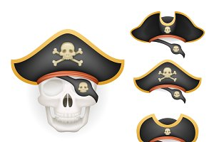 Skull with pirate hats