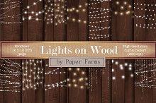 Fairy lights on wood