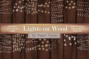 Fairy lights on wood