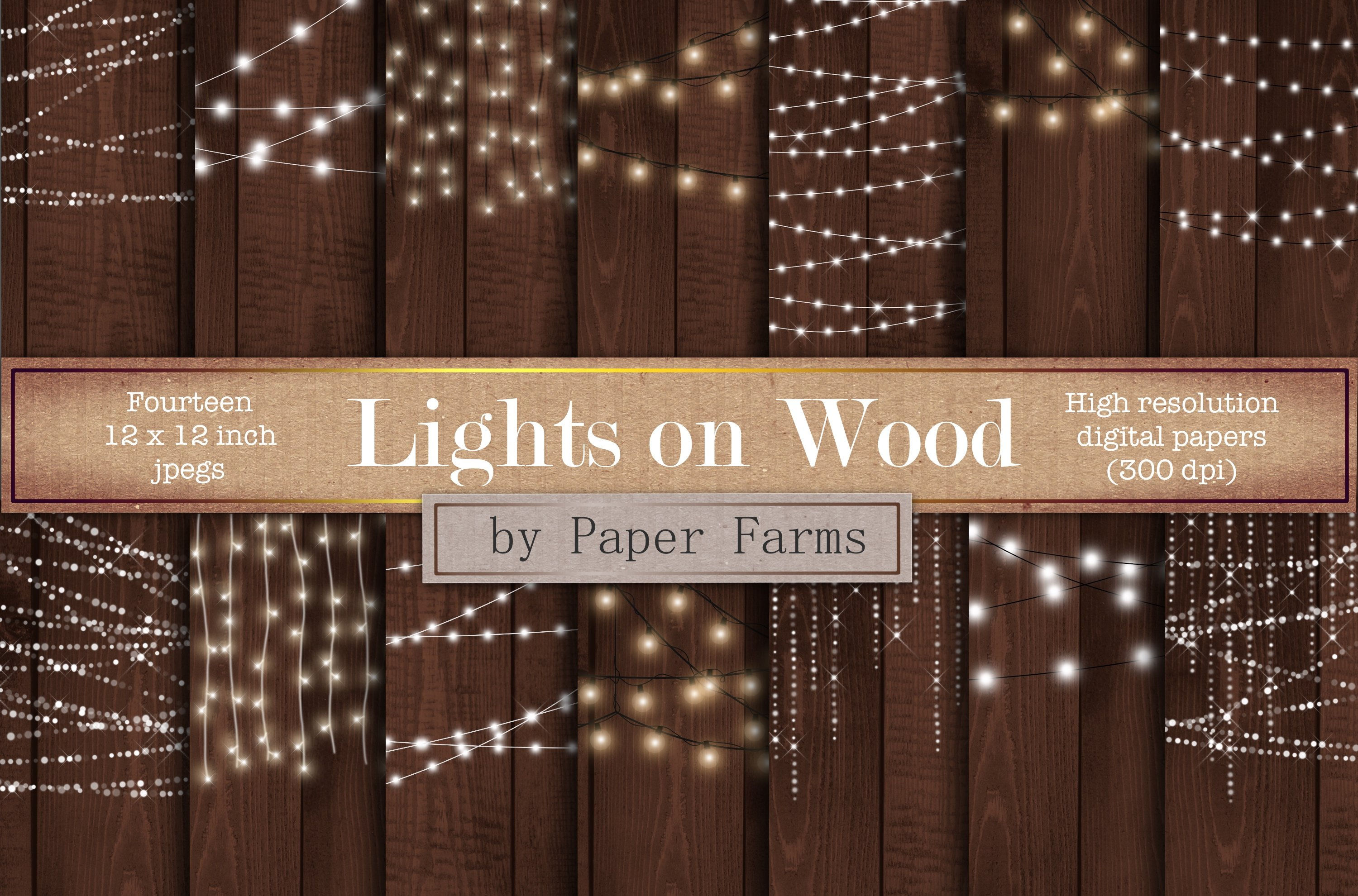 Fairy Lights On Wood Graphic Patterns Creative Market