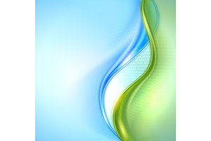 Abstract blue and green waving background