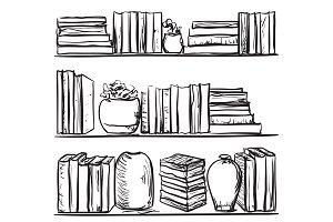 Books shelves sketch