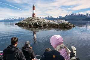 Tourist Lighthouse Les eclaireurs in Beagle Channel near Ushuaia