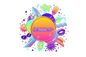 Background with stylized summer objects. Abstract illustration in vibrant color