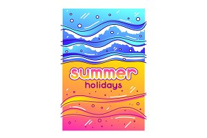 Summer holidays. Sea surf on sandy beach. Stylized illustration of coastline