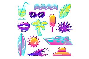 Set of stylized summer objects. Abstract illustration in vibrant color